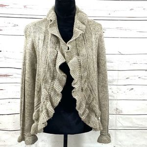 Chico's Open Cardigan Sweater Tan Ruffle Size 1